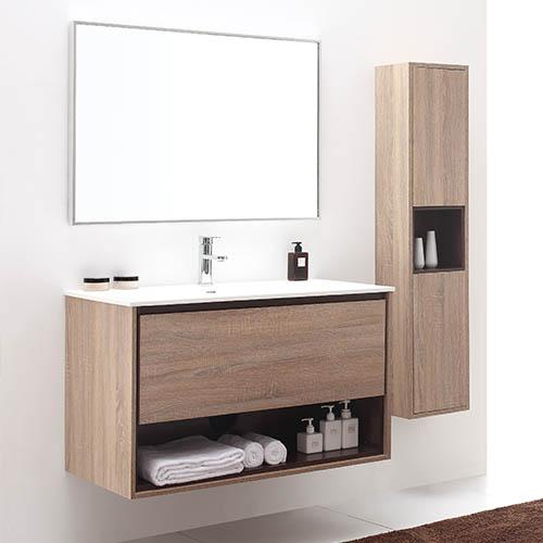 "39"" Emida Wall-Mount Vanity for Solid Surface Top -  Restored Khaki Wood"