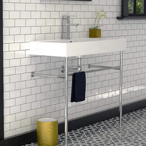 "39"" Ocate Vitreous China Console Bathroom Sink with Steel Stand"