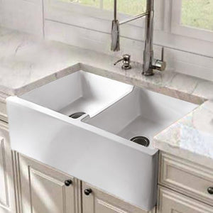 "39"" Vasto Fireclay Double-Bowl Farmhouse Sink"