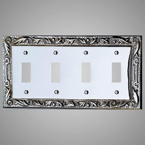 4 Gang Toggle Wall Switch Plate - Floral Design