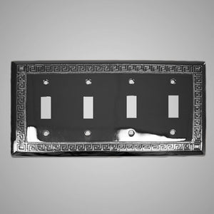 4 Gang Toggle Wall Switch Plate - Greek Design