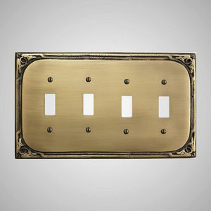 4 Gang Toggle Wall Switch Plate - Victorian Design