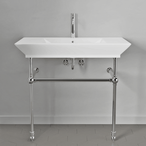 "40"" Cankton Fireclay Console Bathroom Sink with Brass Stand"