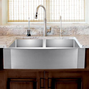 "42"" Pinson Stainless Steel Double-Bowl Farmhouse Sink - Rippled Apron"