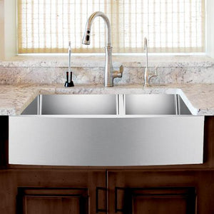 "42"" Sipsey Stainless Steel 60/40 Offset Double-Bowl Farmhouse Sink - Curved Apron"