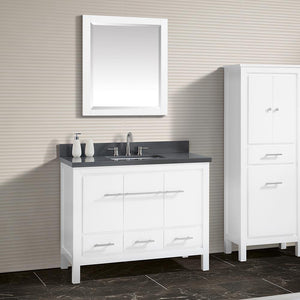 "43"" Chelan Vanity with Gray Quartz Top and Rectangular Undermount Sink - White"