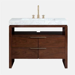"43"" Riggins Vanity with Integral Carrara Marble Top - Natural Walnut"