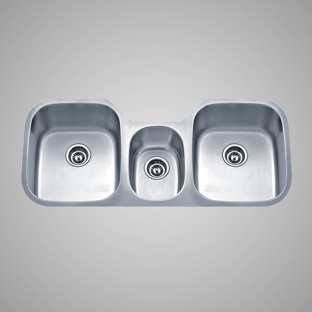 46 Malone Stainless Steel Triple Bowl Undermount Sink Magnus Home Products