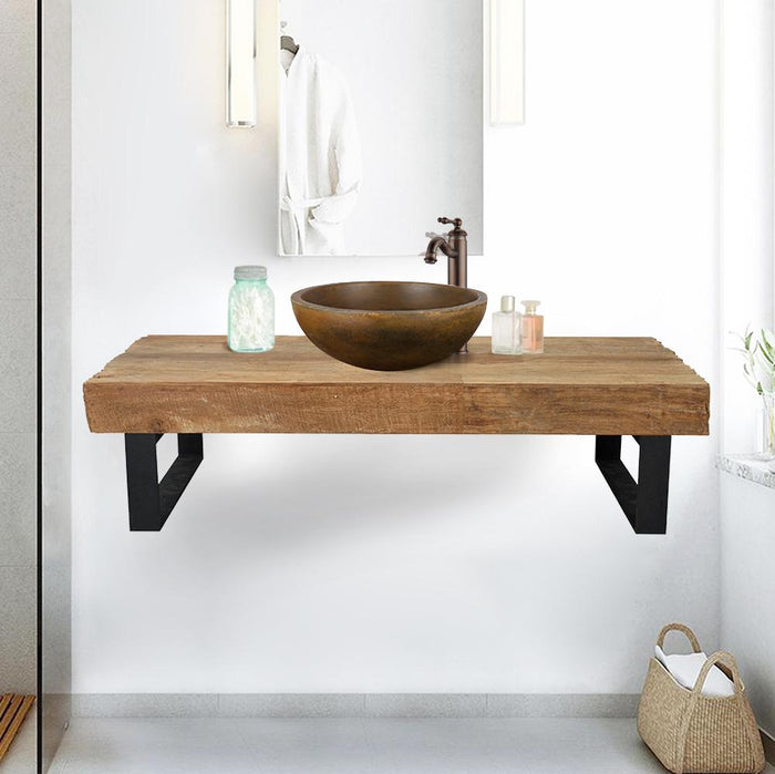 "47"" Auter Recycled Teak Wood Wall-Mount Vanity for Vessel Sink - Rustic Finish"