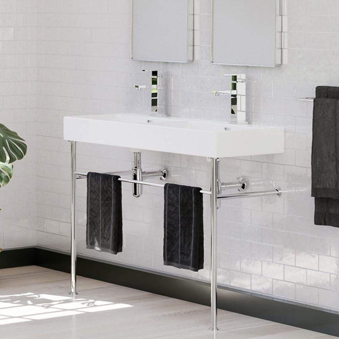 "47"" Hico Vitreous China Console Bathroom Sink with Steel Stand"
