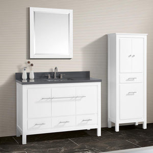 "49"" Chelan Vanity with Gray Quartz Top and Rectangular Undermount Sink - White"