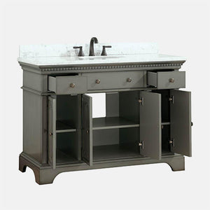 "49"" Kamela Vanity Cabinet with Carrara Marble Top and Oval Undermount Sink"
