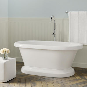 "57"" Carrollton Acrylic Double-Ended Roll-Top Tub with Pedestal"