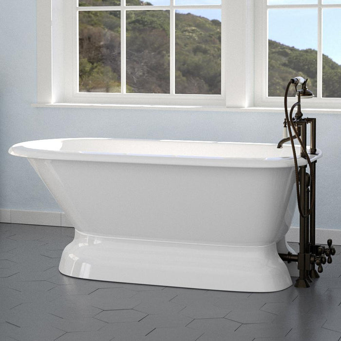 "57"" Conary Cast Iron Roll-Top Tub with Pedestal"
