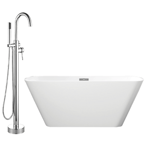 "59"" Gile Acrylic Rectangular Freestanding Tub with Integral Drain, Foam Insulation and Oldham Freestanding Faucet with Hand Shower"