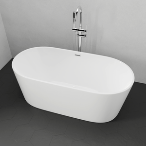 "59"" Hermon Acrylic Oval Freestanding Tub with Integral Drain and Foam Insulation"