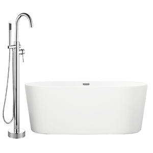 "59"" Hermon Acrylic Oval Freestanding Tub with Integral Drain, Foam Insulation and Oldham Freestanding Faucet with Hand Shower"