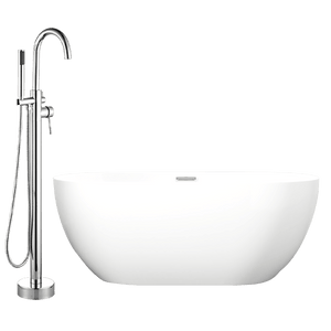 "59"" Montar Acrylic Oval Freestanding Tub with Integral Drain, Foam Insulation and Oldham Freestanding Faucet with Hand Shower"