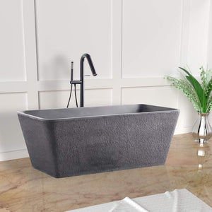 "59"" Russell Natural Concrete Rectangular Freestanding Tub - Rough Exterior"