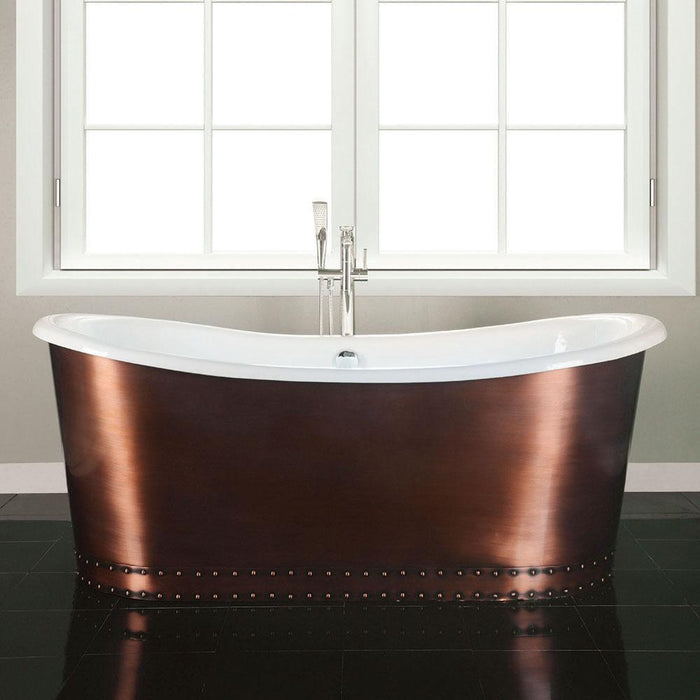 "59"" Sumrall Cast Iron Steel Skirted Bateau Tub"