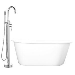 "59"" Tomiko Acrylic Slipper Freestanding Tub with Integral Drain and Oldham Freestanding with Hand Shower"