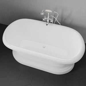 "60"" Aldine Cast Iron Double-Ended Roll-Top Tub with Pedestal"