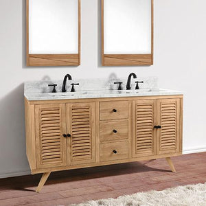 "60"" Compton Double Teak Vanity for Rectangular Undermount Sinks - Natural Teak"