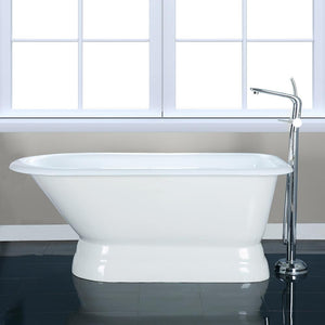 "60"" Crockett Cast Iron Roll-Top Tub with Pedestal"