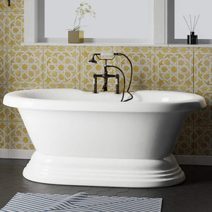 "60"" Erlanger Acrylic Double-Ended Roll-Top Tub with Pedestal"
