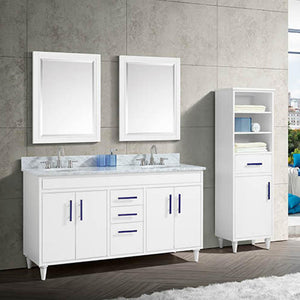 "60"" Leadore Double Vanity Cabinet for Oval Undermount Sinks - White"