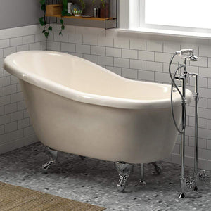 "60"" Newport Acrylic Slipper Clawfoot Tub - Bisque"