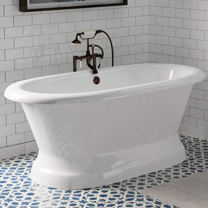 "60"" Pattison Cast Iron Double-Ended Roll-Top Tub with Pedestal"