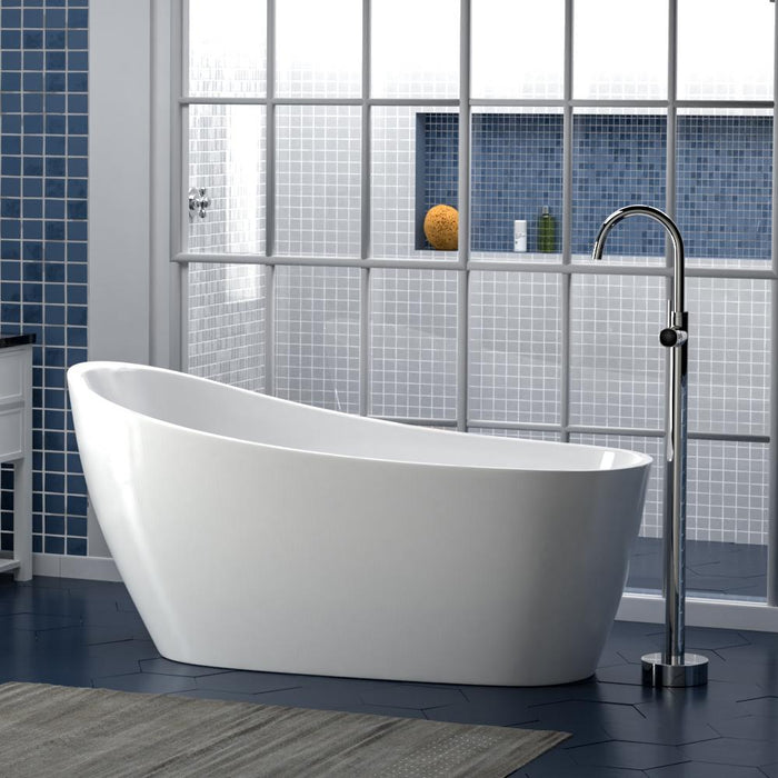 "60"" Radnor Acrylic Slipper Freestanding Tub with Integral Drain and Vinton Freestanding Faucet"