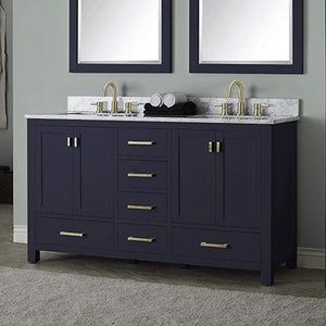 "60"" Romani Vanity Cabinet for Double Rectangular Undermount Sink - Navy Blue"