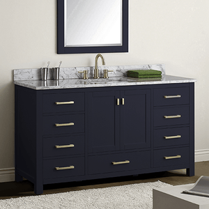 "60"" Romani Vanity Cabinet for Single Rectangular Undermount Sink - Navy Blue"