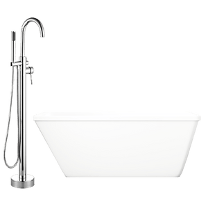 "60"" Thera Acrylic Freestanding Tub with Integral Drain and Oldham Faucet with Hand Shower"