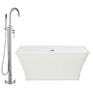 "60"" Thorndike Acrylic Freestanding Tub with Integral Drain and Oldham Freestanding Faucet with Hand Shower"