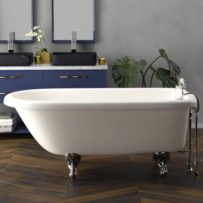 "60"" Walton Acrylic Roll-Top Clawfoot Tub - Bisque (Wall-Mount Faucet Holes)"