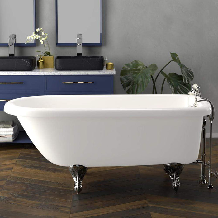 "60"" Walton Acrylic Roll-Top Clawfoot Tub - White (Wall-Mount Faucet Holes)"