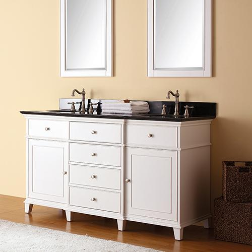 "60"" Wilbur Double Vanity for Oval Undermount Sinks - White"