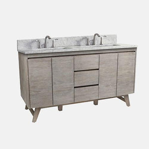 "60"" Winton Double Teak Vanity for Rectangular Undermount Sinks"