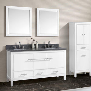 "61"" Chelan Double Vanity with Gray Quartz Top and Rectangular Undermount Sinks - White"