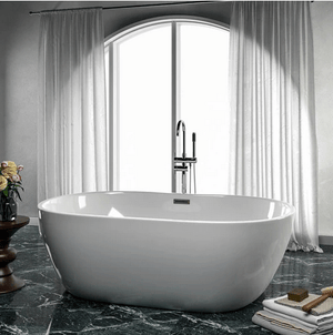 "61"" Foster Acrylic Freestanding Tub with Integral Drain and Latonia Freestanding Faucet with Hand Shower"