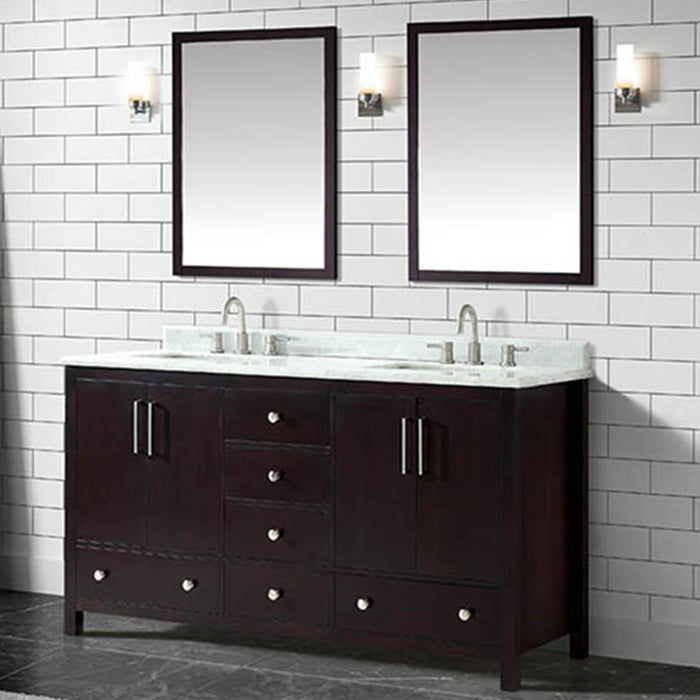 "61"" Malott Double Vanity Cabinet with Carrara Marble Top and Rectangular Undermount Sinks - Dark Espresso"