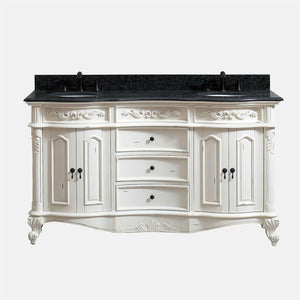 "61"" Warden Double Vanity with Impala Black Granite Top and Oval Undermount Sinks - Antique White"