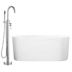 "62"" Degrasse Acrylic Oval Freestanding Tub with Integral Drain, Foam Insulation and Oldham Freestanding Faucet with Hand Shower"