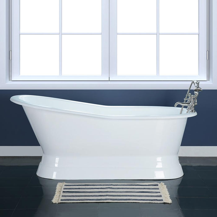 "62"" Rusk Cast Iron Slipper Tub with Pedestal"