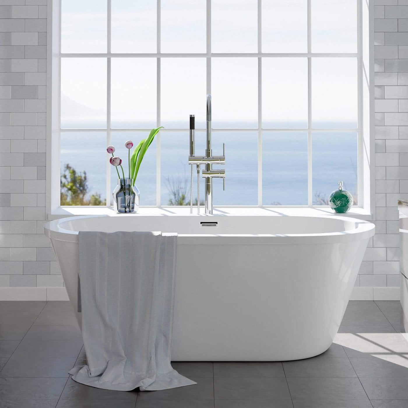 """62"""" Tevy Acrylic Freestanding Tub with Integral Drain"""