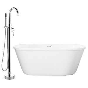 "62"" Tevy Acrylic Freestanding tub with Integral Drain and Oldham Freestanding Faucet with Hand Shower"