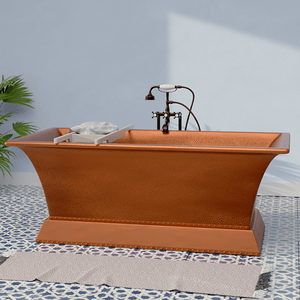 "65"" Medon Antique Copper Rectangular Double-Ended Tub with Pedestal"